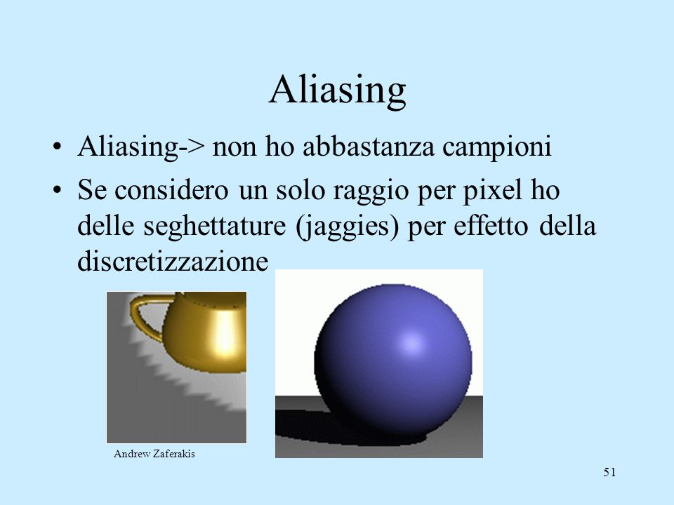 Aliasing Aliasing-> non ho abbastanza campioni