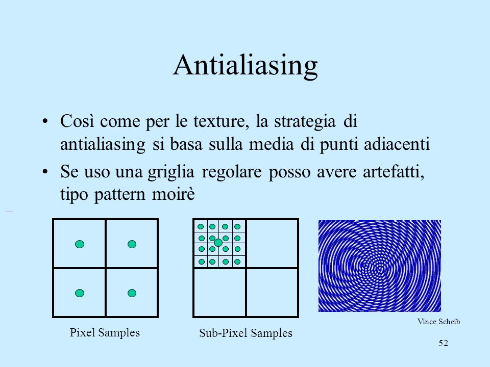 Antialiasing Così come per le texture, la strategia di antialiasing si basa sulla media di punti adiacenti.