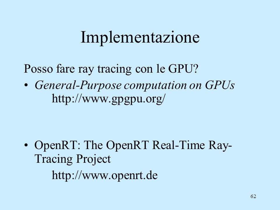 Implementazione Posso fare ray tracing con le GPU