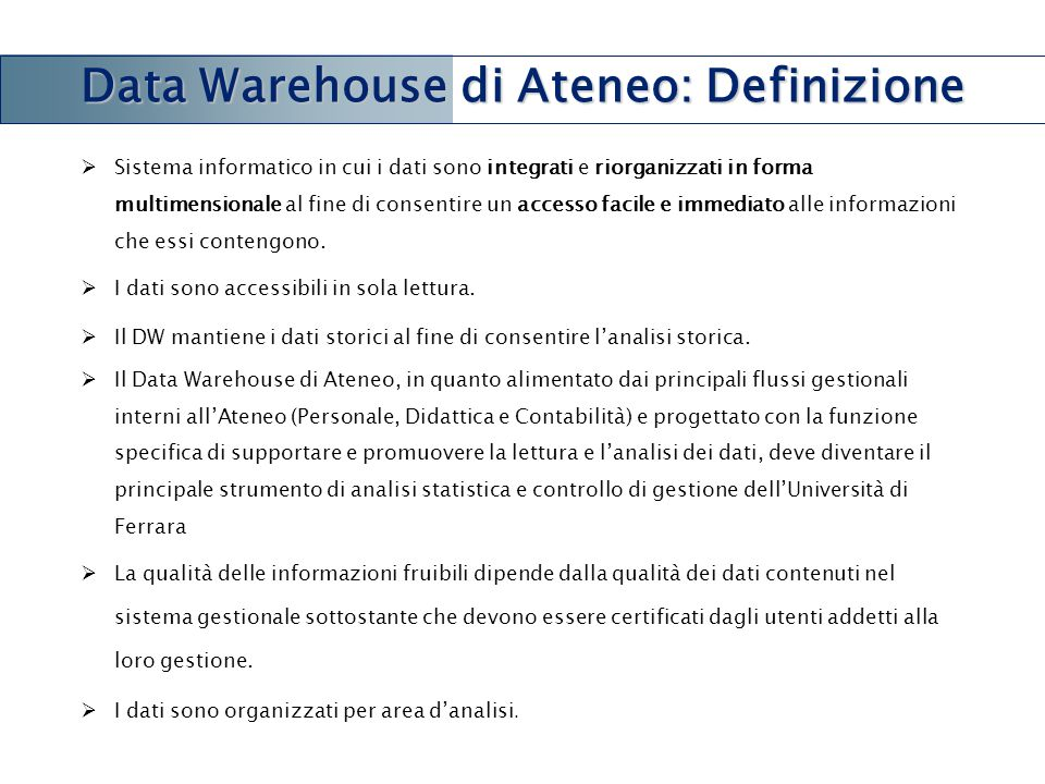 Data Warehouse di Ateneo: Definizione