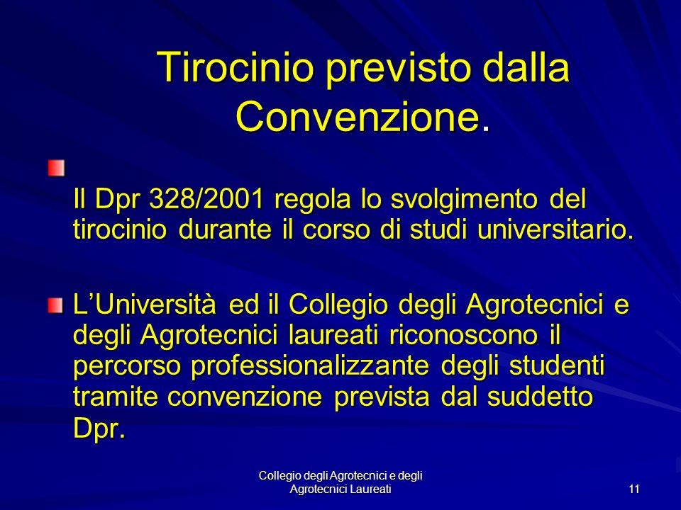 Tirocinio previsto dalla Convenzione.