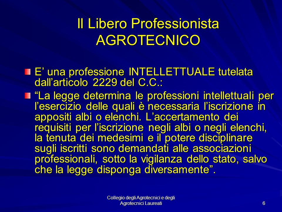Il Libero Professionista AGROTECNICO