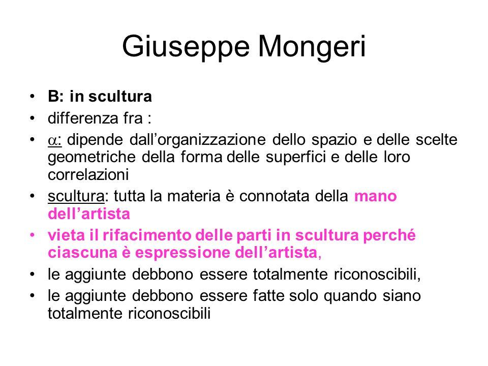Giuseppe Mongeri B: in scultura differenza fra :