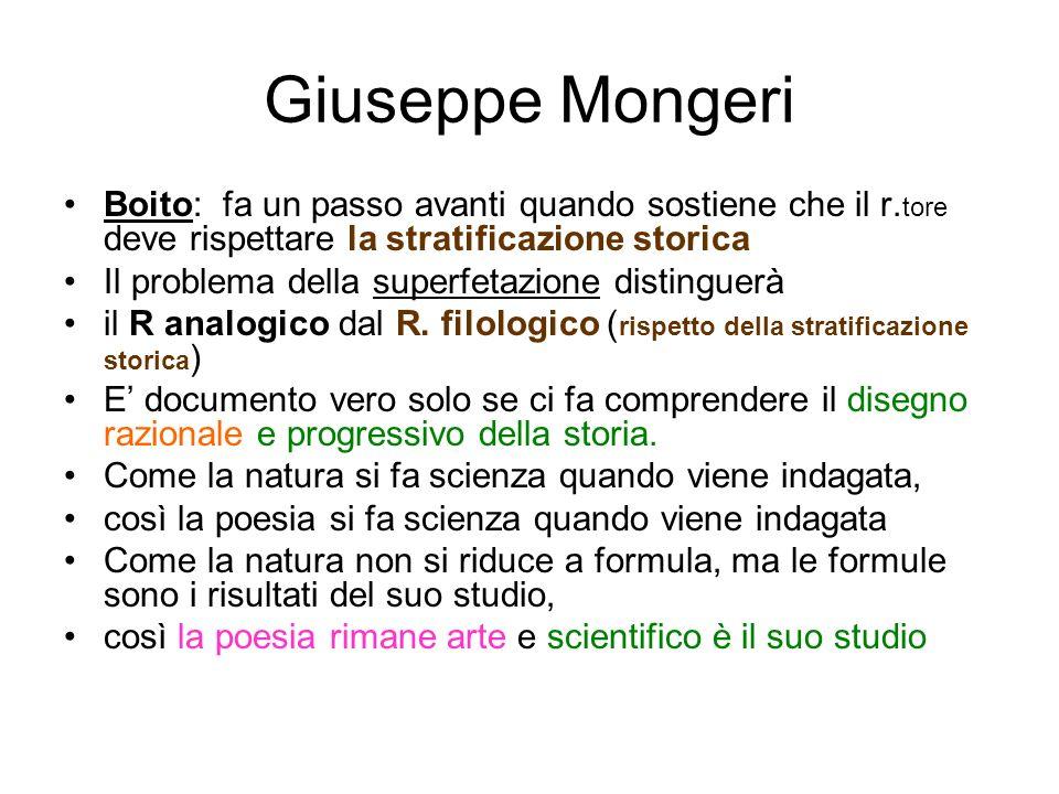Giuseppe MongeriBoito: fa un passo avanti quando sostiene che il r.tore deve rispettare la stratificazione storica.