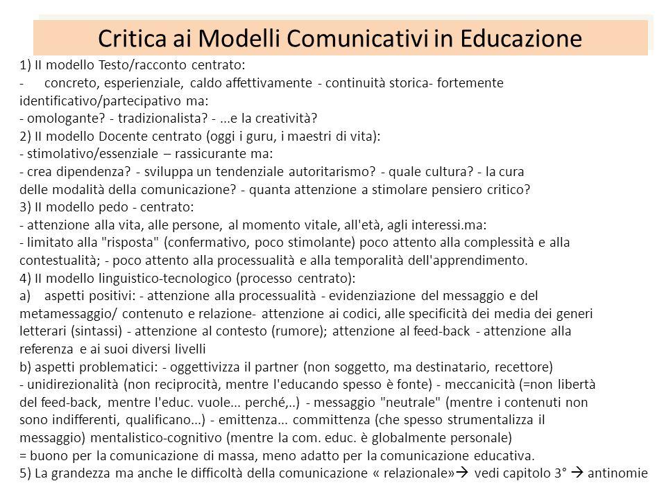 Critica ai Modelli Comunicativi in Educazione