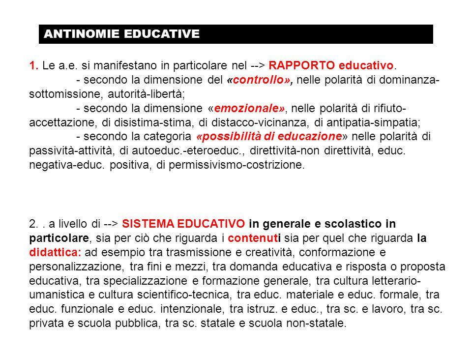 ANTINOMIE EDUCATIVE 1. Le a.e. si manifestano in particolare nel --> RAPPORTO educativo.
