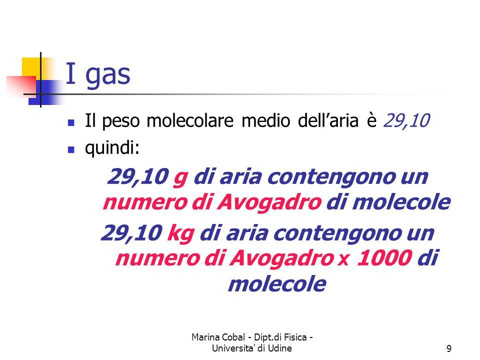 I gas 29,10 g di aria contengono un numero di Avogadro di molecole