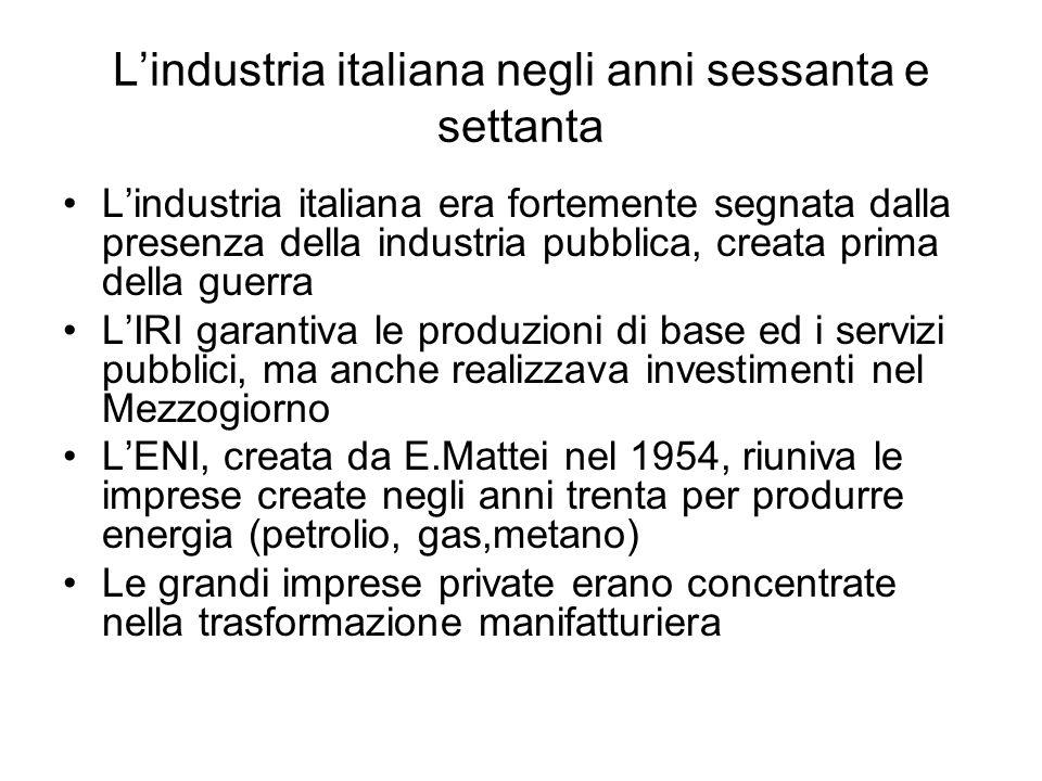 L'industria italiana negli anni sessanta e settanta