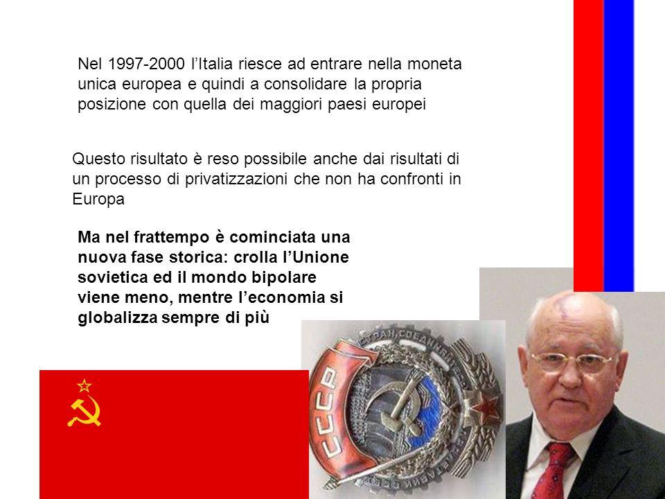 Nel 1997-2000 l'Italia riesce ad entrare nella moneta unica europea e quindi a consolidare la propria posizione con quella dei maggiori paesi europei
