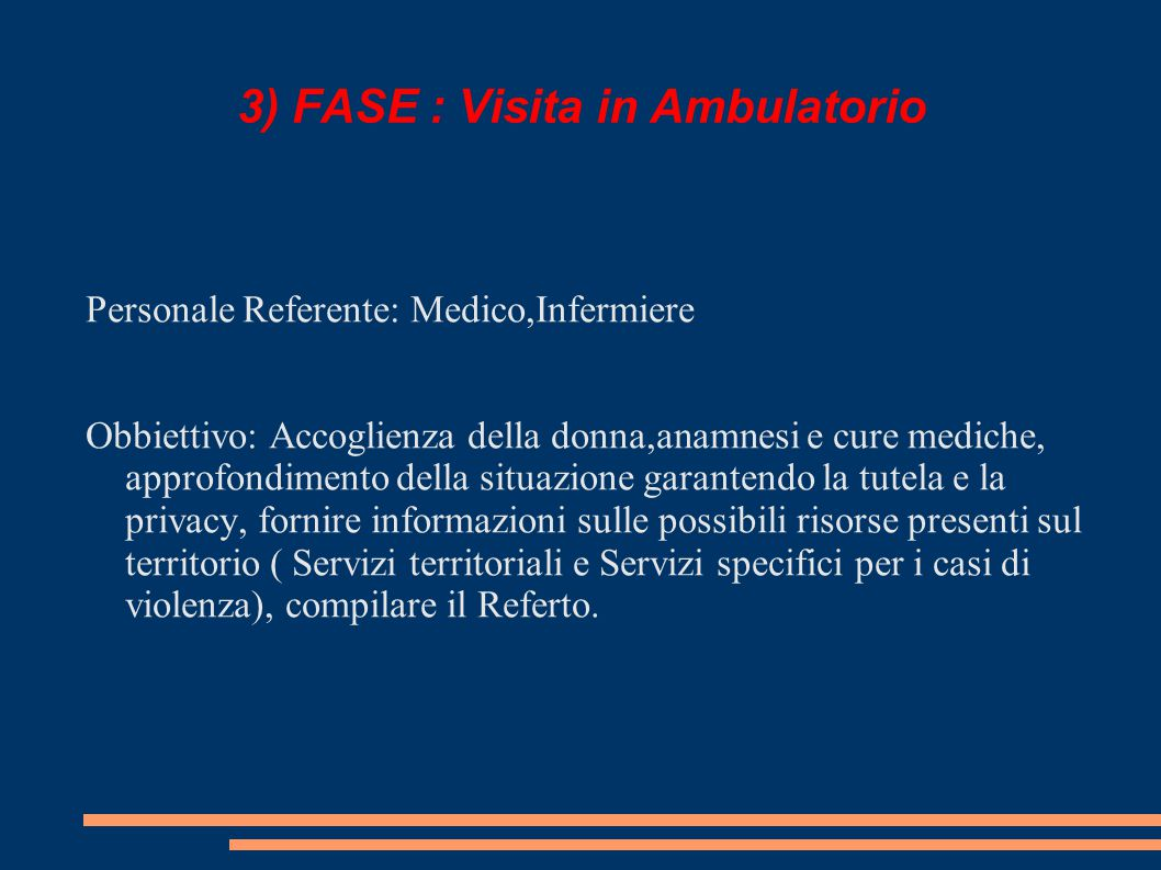 3) FASE : Visita in Ambulatorio