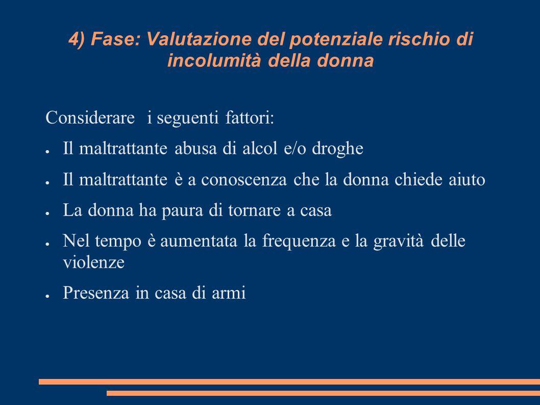 4) Fase: Valutazione del potenziale rischio di incolumità della donna