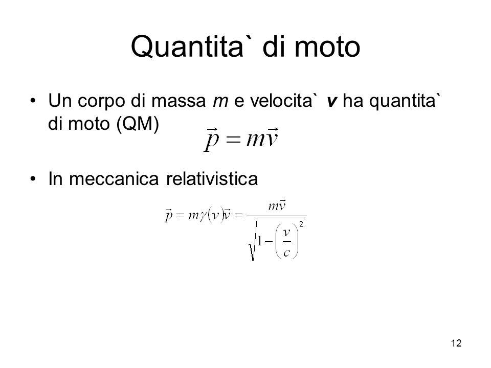 Quantita` di moto Un corpo di massa m e velocita` v ha quantita` di moto (QM) In meccanica relativistica.