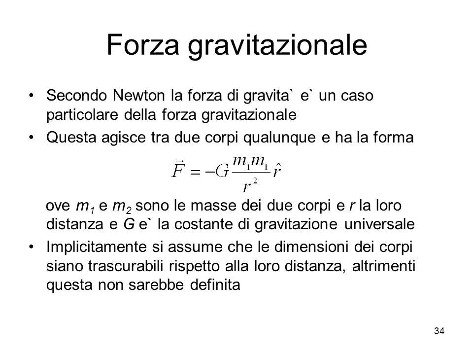 Forza gravitazionale Secondo Newton la forza di gravita` e` un caso particolare della forza gravitazionale.