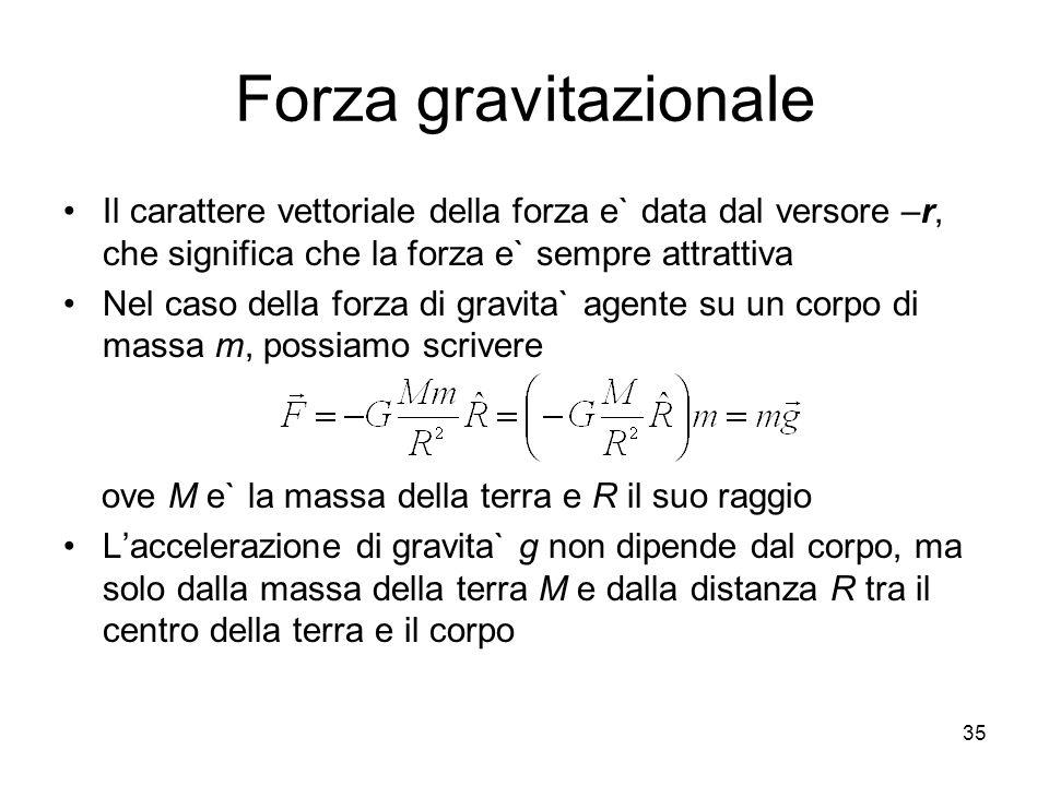 Forza gravitazionale Il carattere vettoriale della forza e` data dal versore –r, che significa che la forza e` sempre attrattiva.
