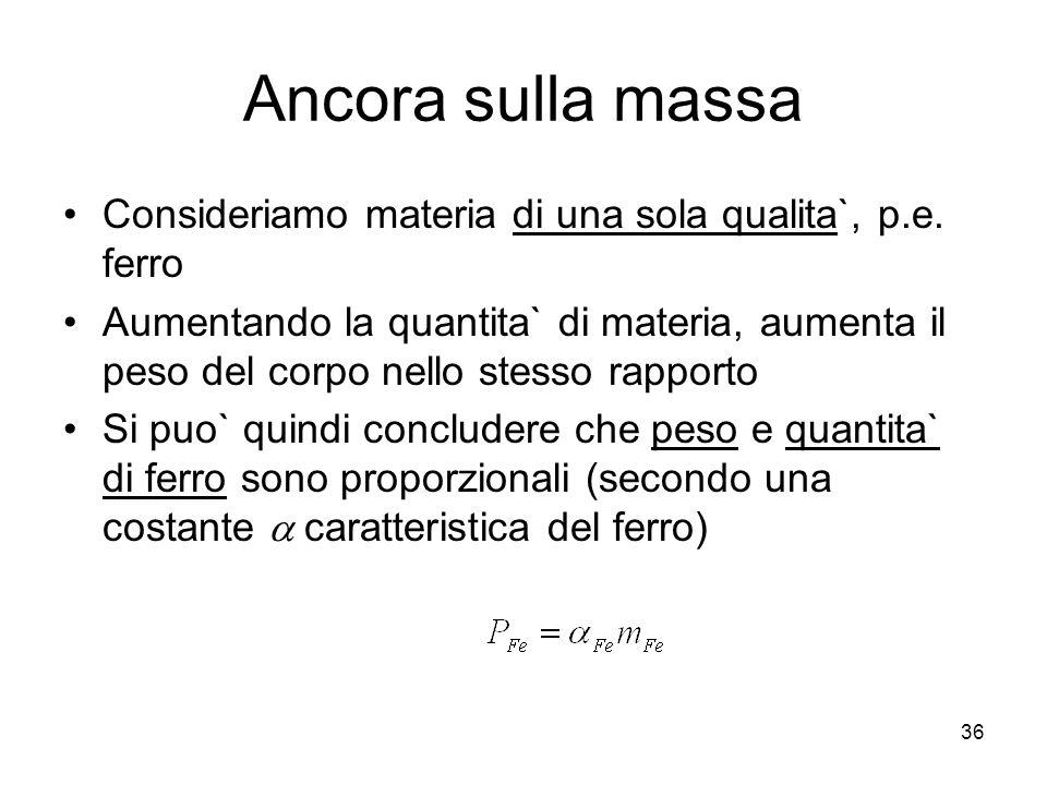 Ancora sulla massa Consideriamo materia di una sola qualita`, p.e. ferro.