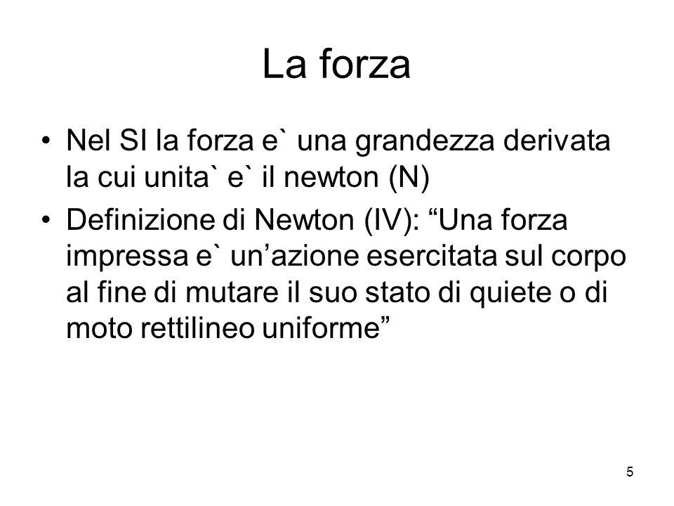 La forza Nel SI la forza e` una grandezza derivata la cui unita` e` il newton (N)