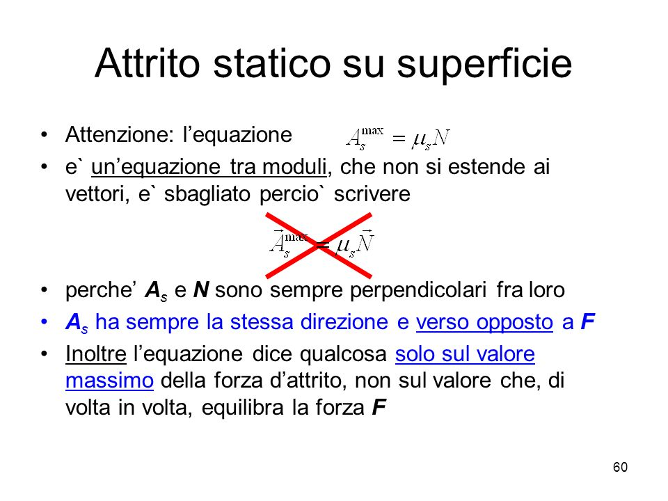 Attrito statico su superficie