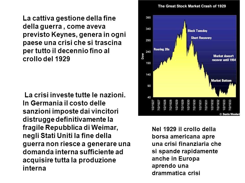 La cattiva gestione della fine della guerra , come aveva previsto Keynes, genera in ogni paese una crisi che si trascina per tutto il decennio fino al crollo del 1929