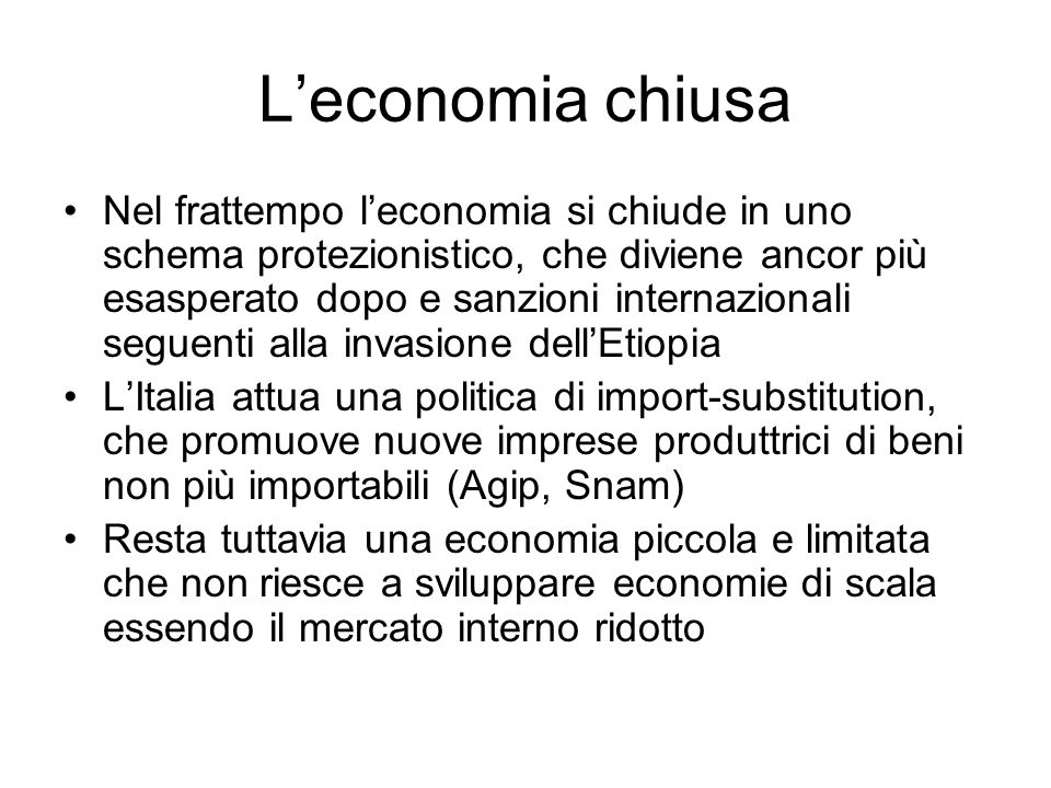 L'economia chiusa
