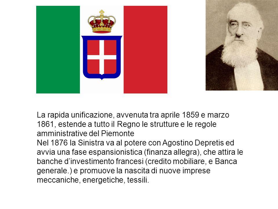 La rapida unificazione, avvenuta tra aprile 1859 e marzo 1861, estende a tutto il Regno le strutture e le regole amministrative del Piemonte