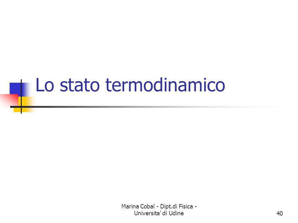 Lo stato termodinamico