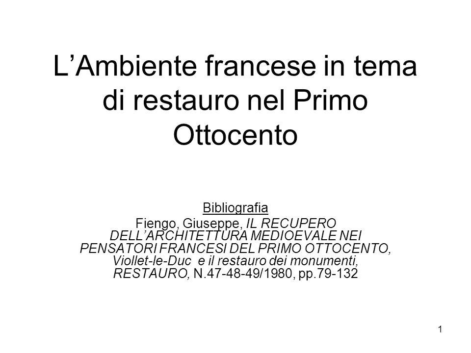 L'Ambiente francese in tema di restauro nel Primo Ottocento