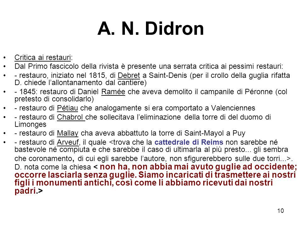 A. N. Didron Critica ai restauri: