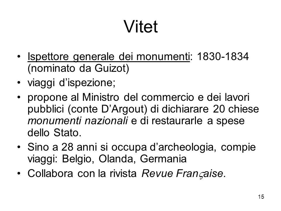Vitet Ispettore generale dei monumenti: 1830-1834 (nominato da Guizot)