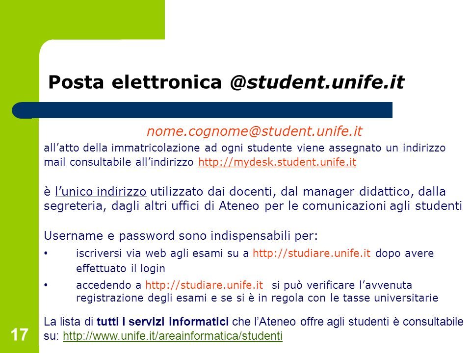 Posta elettronica @student.unife.it