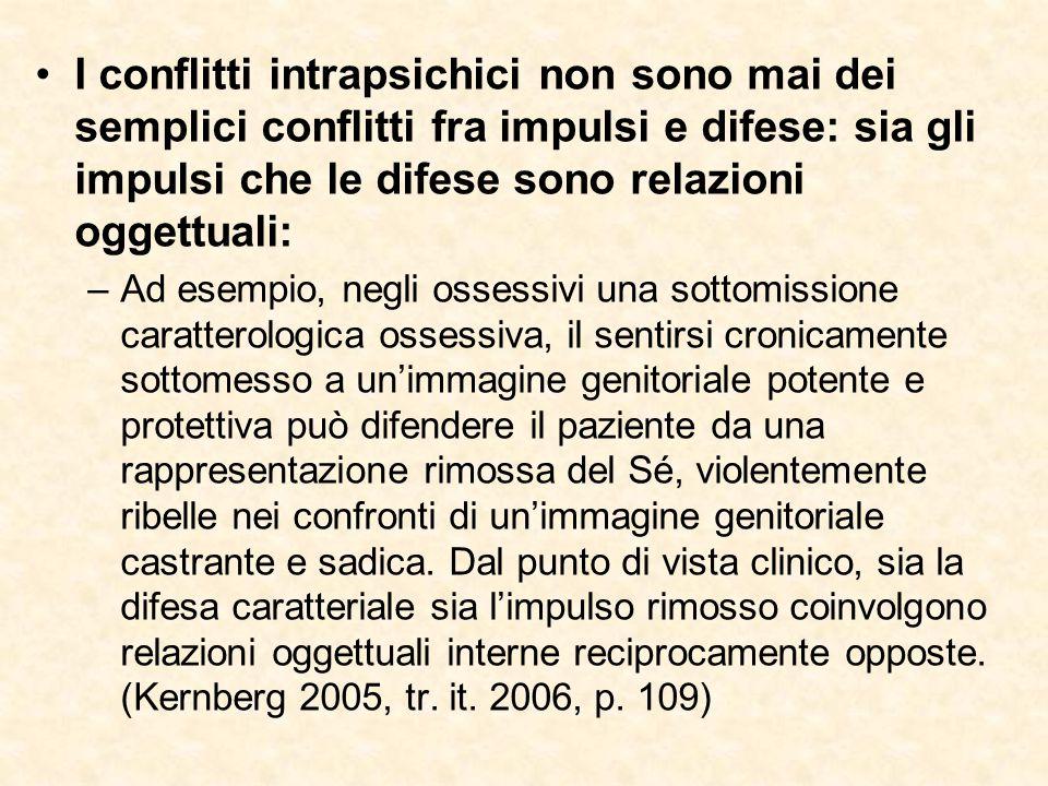 I conflitti intrapsichici non sono mai dei semplici conflitti fra impulsi e difese: sia gli impulsi che le difese sono relazioni oggettuali: