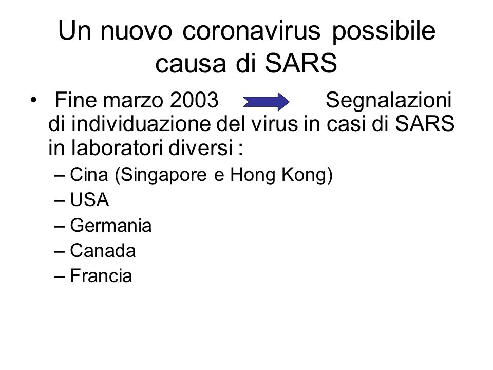 Un nuovo coronavirus possibile causa di SARS
