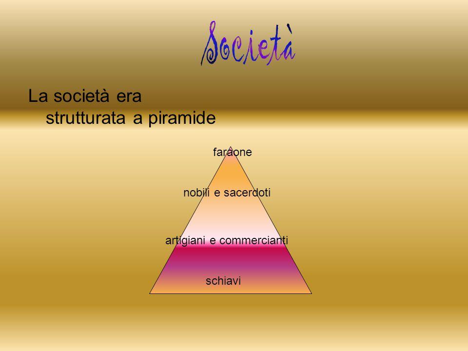 Società La società era strutturata a piramide faraone
