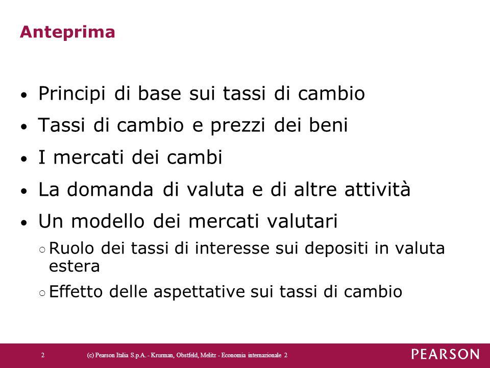 Principi di base sui tassi di cambio Tassi di cambio e prezzi dei beni
