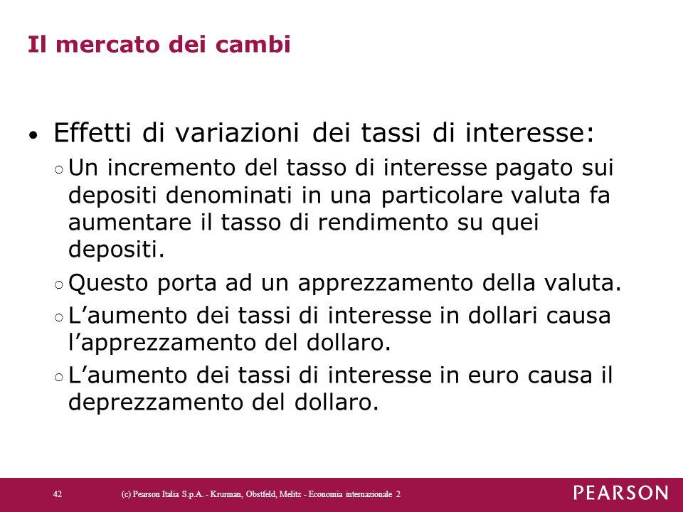 Effetti di variazioni dei tassi di interesse: