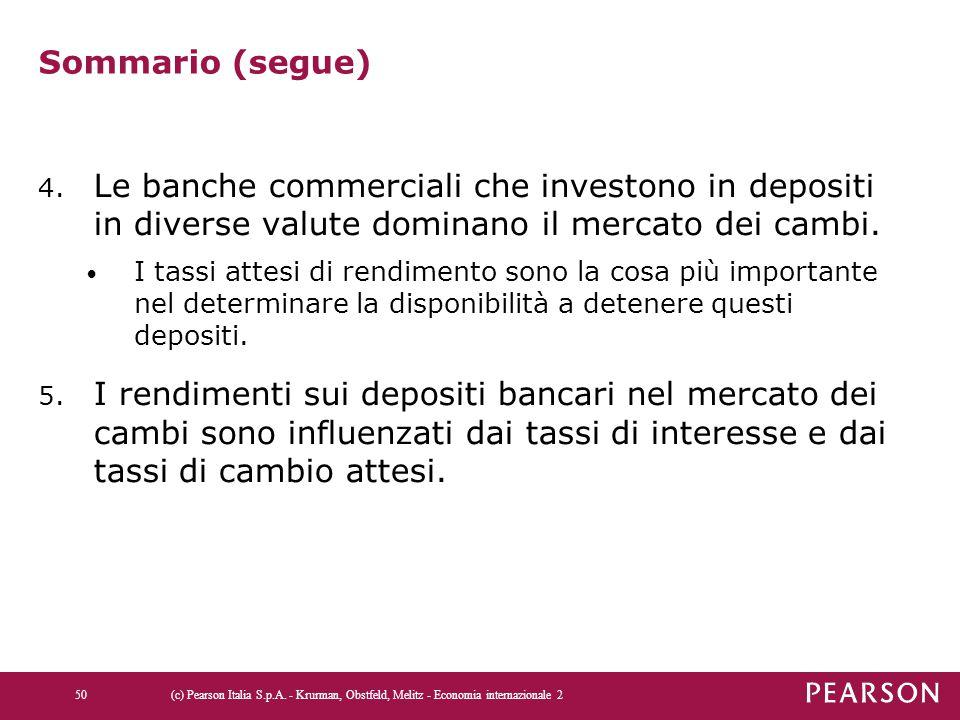 Sommario (segue) Le banche commerciali che investono in depositi in diverse valute dominano il mercato dei cambi.