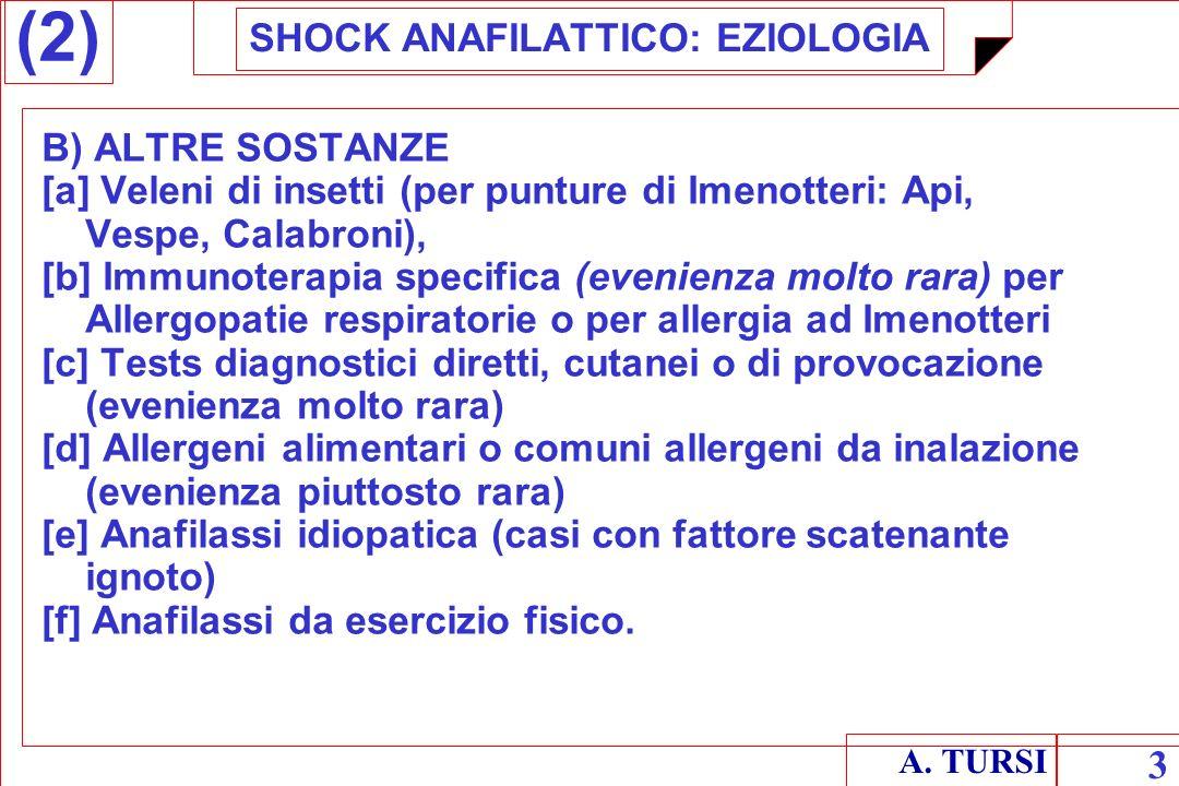 SHOCK ANAFILATTICO: EZIOLOGIA