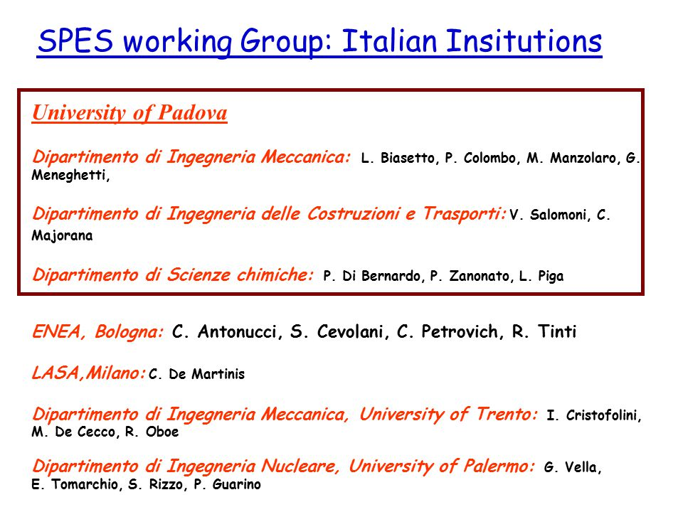 SPES working Group: Italian Insitutions