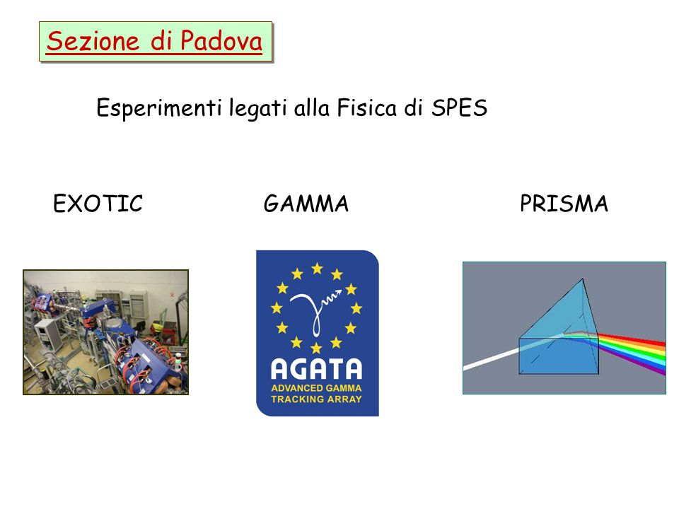 Sezione di Padova Esperimenti legati alla Fisica di SPES