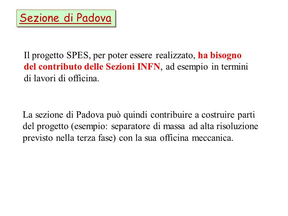 Sezione di Padova Il progetto SPES, per poter essere realizzato, ha bisogno. del contributo delle Sezioni INFN, ad esempio in termini.