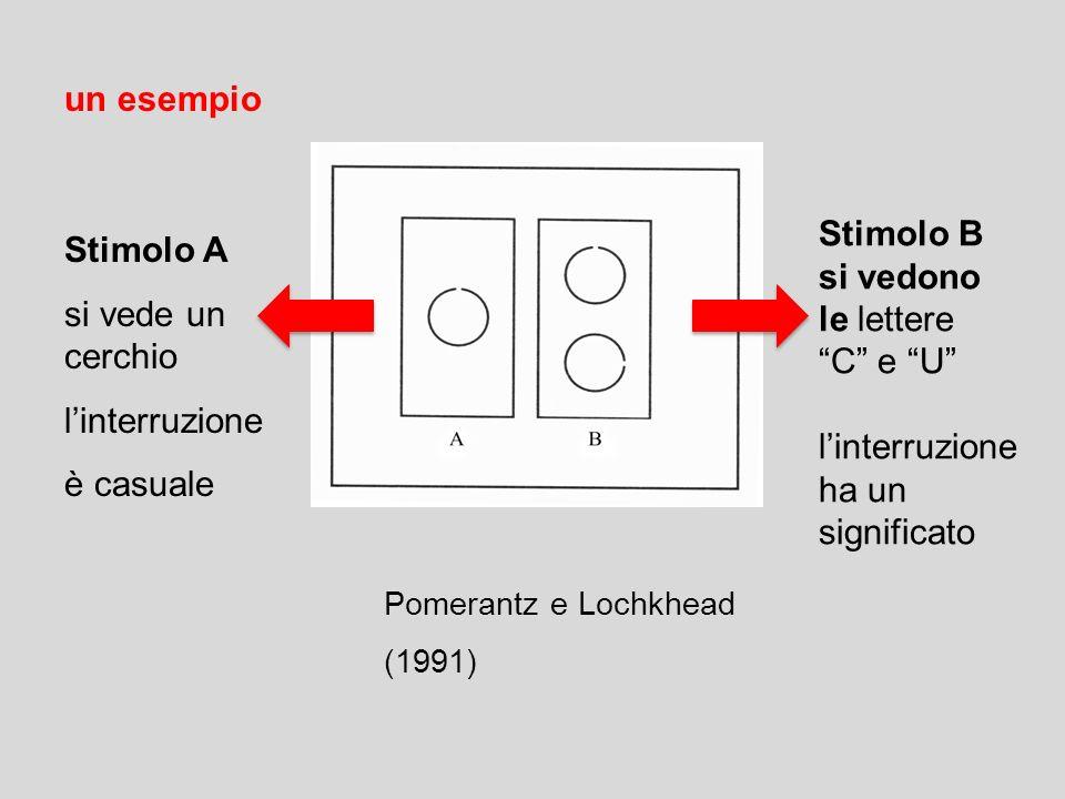 un esempio Stimolo B Stimolo A si vedono si vede un cerchio le lettere