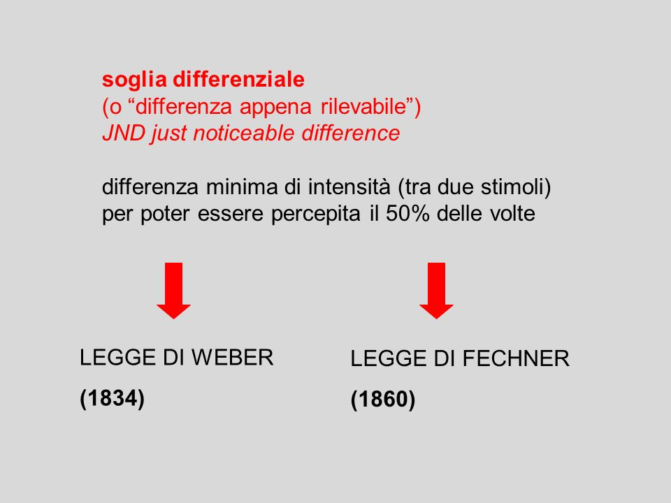 soglia differenziale (o differenza appena rilevabile ) JND just noticeable difference. differenza minima di intensità (tra due stimoli)