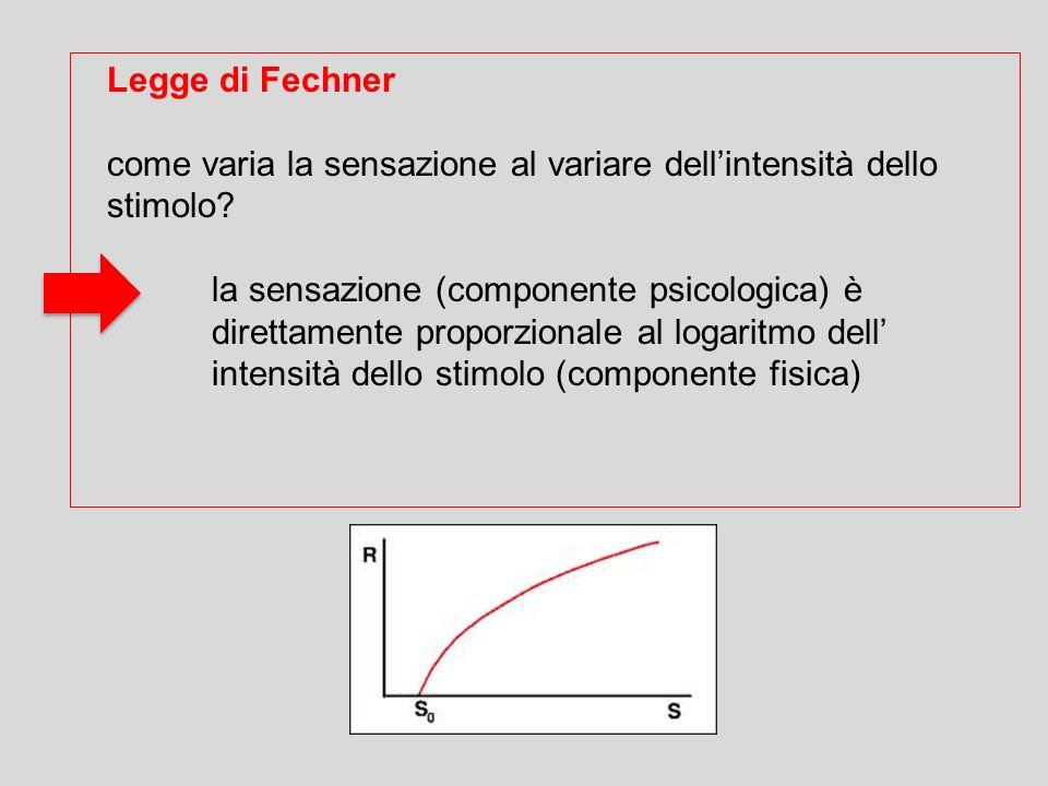 Legge di Fechner come varia la sensazione al variare dell'intensità dello stimolo