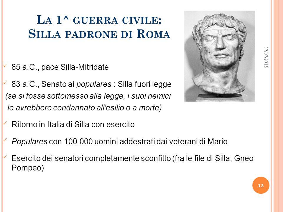 La 1^ guerra civile: Silla padrone di Roma