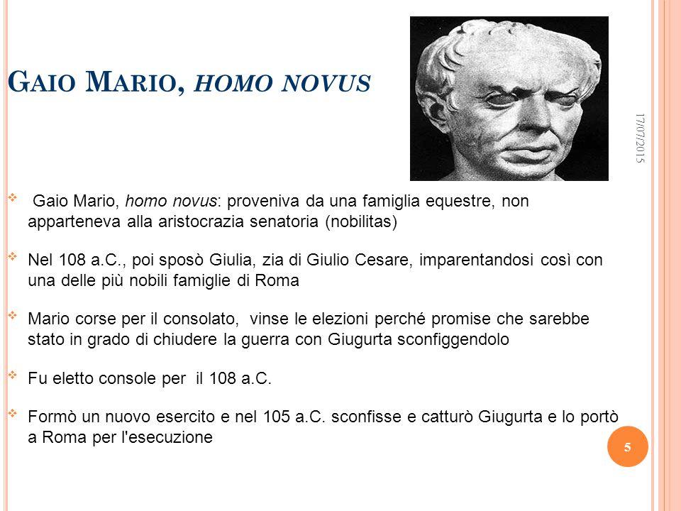 Gaio Mario, homo novus 18/04/2017.