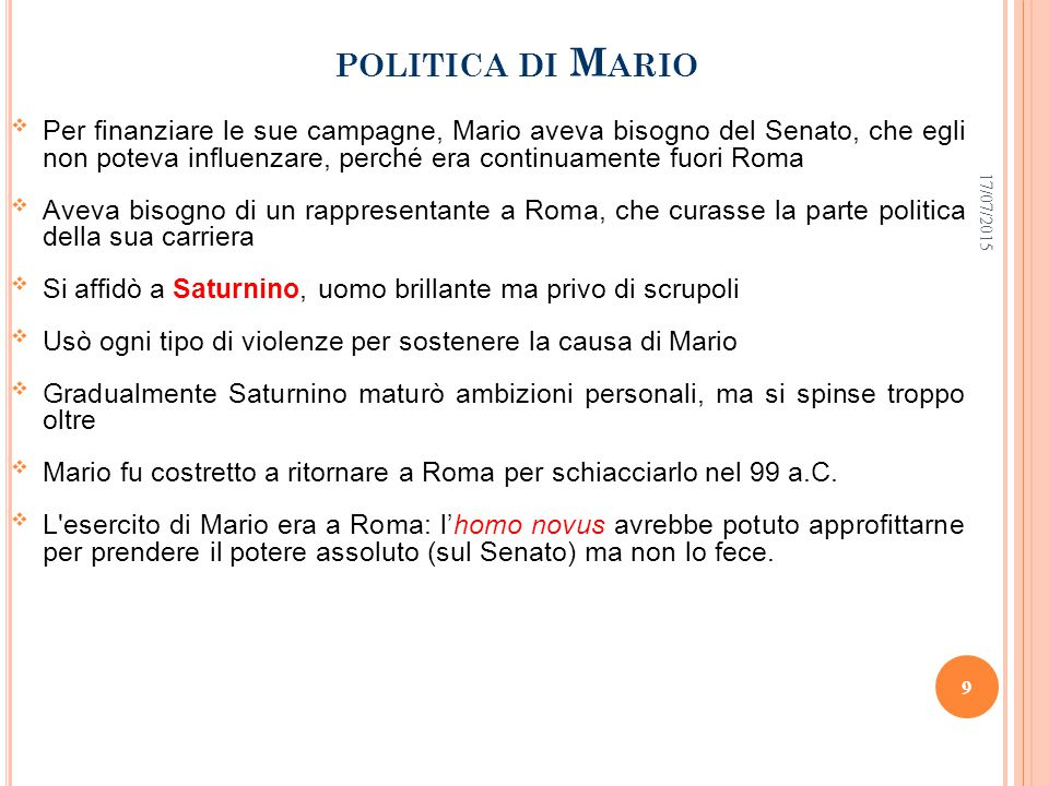 politica di Mario