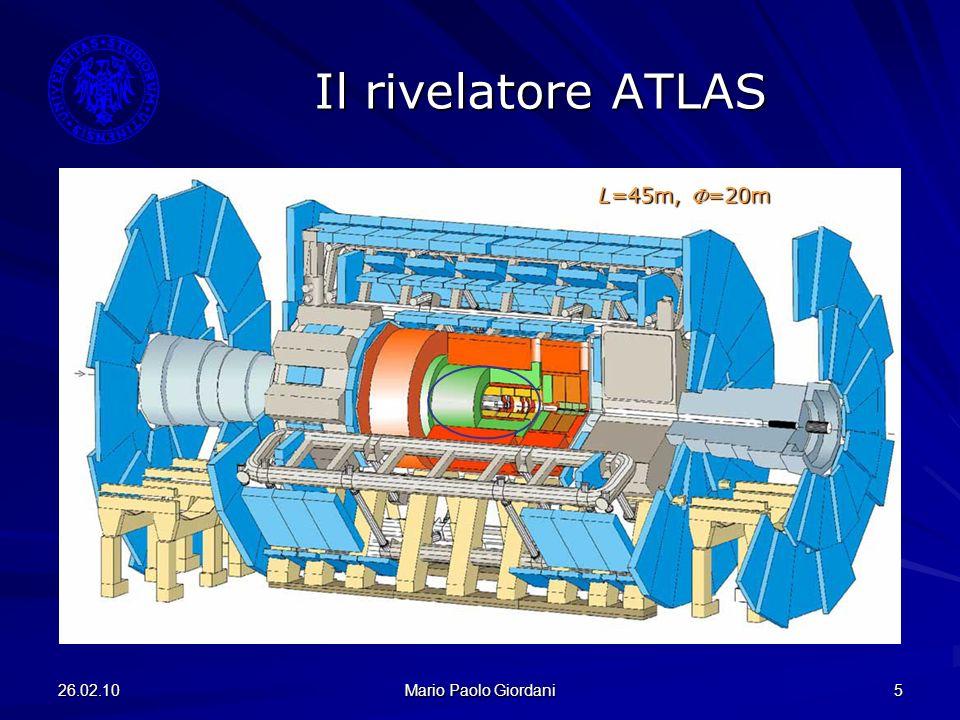 Il rivelatore ATLAS L=45m, =20m 26.02.10 Mario Paolo Giordani