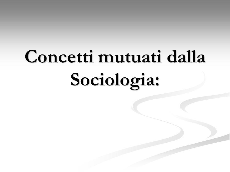 Concetti mutuati dalla Sociologia: