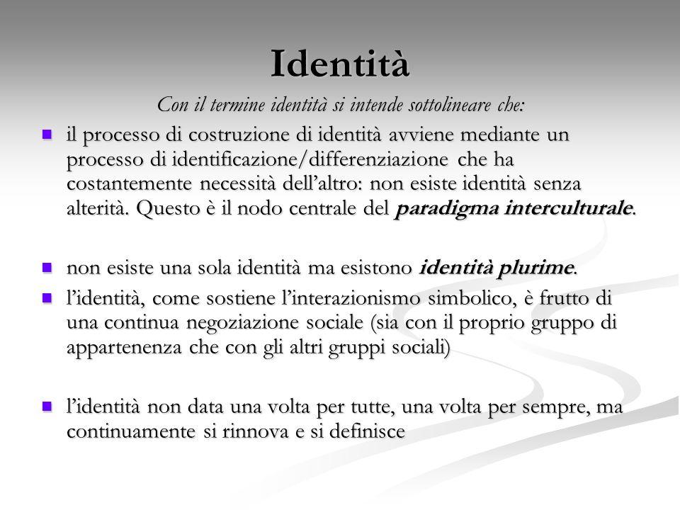 Con il termine identità si intende sottolineare che: