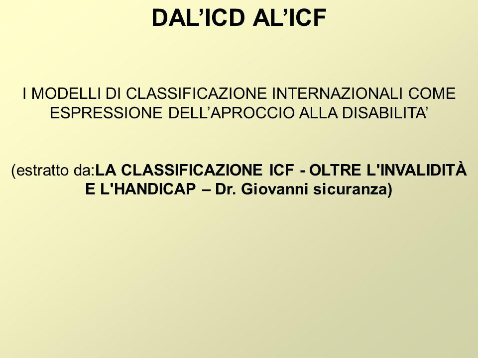 DAL'ICD AL'ICF I MODELLI DI CLASSIFICAZIONE INTERNAZIONALI COME ESPRESSIONE DELL'APROCCIO ALLA DISABILITA'