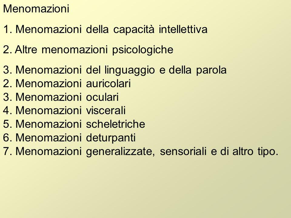 Menomazioni1. Menomazioni della capacità intellettiva. 2. Altre menomazioni psicologiche.